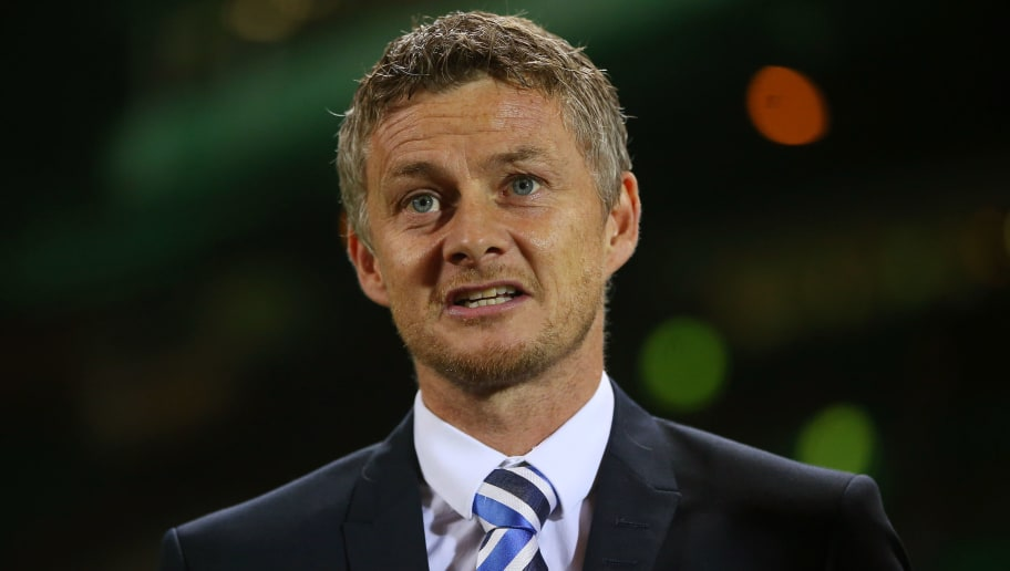 GLASGOW, SCOTLAND - NOVEMBER 05:  Ole Gunnar Solskjaer the head coach of Molde looks on prior to kickoff during the UEFA Europa League Group A match between Celtic FC and Molde FK at Celtic Park on November 5, 2015 in Glasgow, United Kingdom.  (Photo by Ian MacNicol/Getty Images)