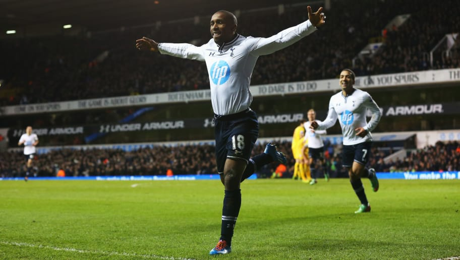 LONDON, ENGLAND - JANUARY 11:  Jermain Defoe of Tottenham Hotspur celebrates his goal during the Barclays Premier League match between Tottenham Hotspur and Crystal Palace at White Hart Lane on January 11, 2014 in London, England.  (Photo by Julian Finney/Getty Images)