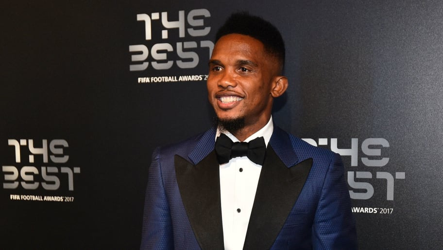 Cameroon's former player Samuel Eto'o poses for a photograph as he arrives for The Best FIFA Football Awards ceremony, on October 23, 2017 in London. / AFP PHOTO / Glyn KIRK        (Photo credit should read GLYN KIRK/AFP/Getty Images)