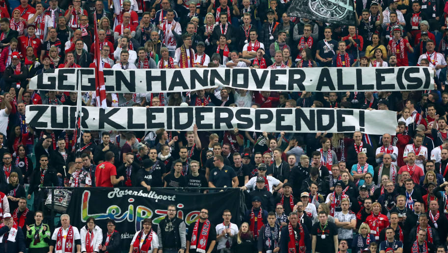 LEIPZIG, GERMANY - OCTOBER 25: Supporters of Leipzig holds a banner during the DFB Cup round 2 match between RB Leipzig and Bayern Muenchen at Red Bull Arena on October 25, 2017 in Leipzig, Germany.  (Photo by Alexander Hassenstein/Bongarts/Getty Images)