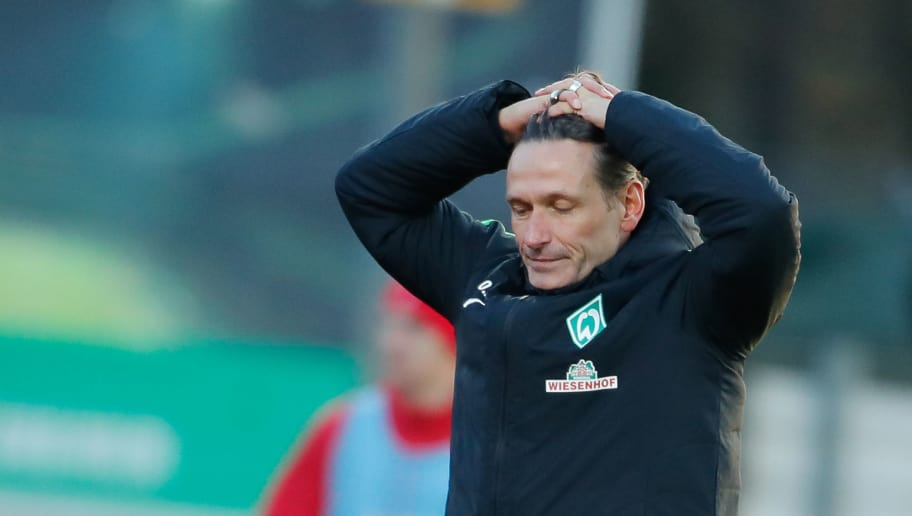 BREMEN, BREMEN - NOVEMBER 25:  Headcoach Oliver Zapel of Bremen II reacts during the 3. Liga match between SV Werder Bremen II and FC Rot-Weiss Erfurt at Bremen Platz 11 on November 25, 2017 in Bremen, Germany.  (Photo by Martin Stoever/Bongarts/Getty Images)