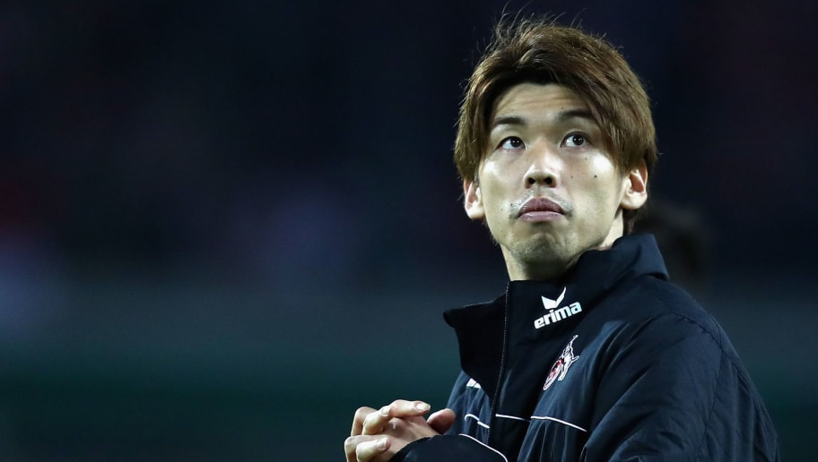 COLOGNE, GERMANY - NOVEMBER 23:  Yuya Osako of FC Koeln looks on after the UEFA Europa League group H match between 1. FC Koeln and Arsenal FC at RheinEnergieStadion on November 23, 2017 in Cologne, Germany.  (Photo by Dean Mouhtaropoulos/Getty Images)