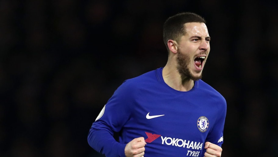 WATFORD, ENGLAND - FEBRUARY 05:  Eden Hazard of Chelsea celebrates scoring the first Chelsea goal during the Premier League match between Watford and Chelsea at Vicarage Road on February 5, 2018 in Watford, England.  (Photo by Catherine Ivill/Getty Images)