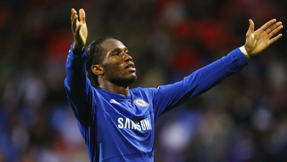 BOLTON, ENGLAND - OCTOBER 31:  Didier Drogba of Chelsea celebrates after scoring the fourth goal during the Barclays Premier League match between Bolton Wanderers and Chelsea at the Reebok Stadium on October 31, 2009 in Bolton,United Kingdom.  (Photo by Alex Livesey/Getty Images)