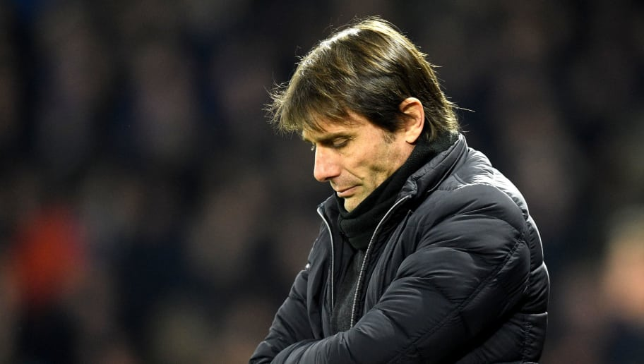 WATFORD, ENGLAND - FEBRUARY 05:  Antonio Conte, Manager of Chelsea looks dejected during the Premier League match between Watford and Chelsea at Vicarage Road on February 5, 2018 in Watford, England.  (Photo by Michael Regan/Getty Images)