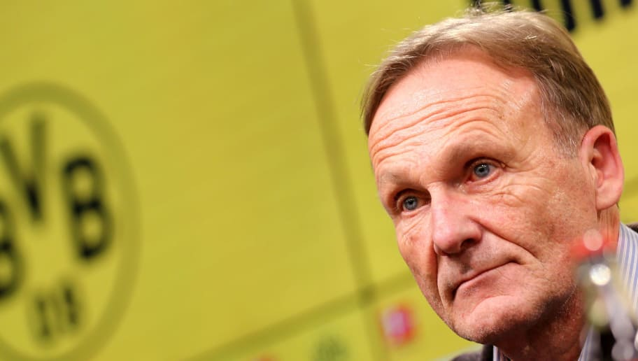 DORTMUND, GERMANY - DECEMBER 10: Hans Joachim Watzke, chairman of the board of Dortmund is seen during the press conference at Signal Iduna Park on December 10, 2017 in Dortmund, Germany.  (Photo by Christof Koepsel/Bongarts/Getty Images)