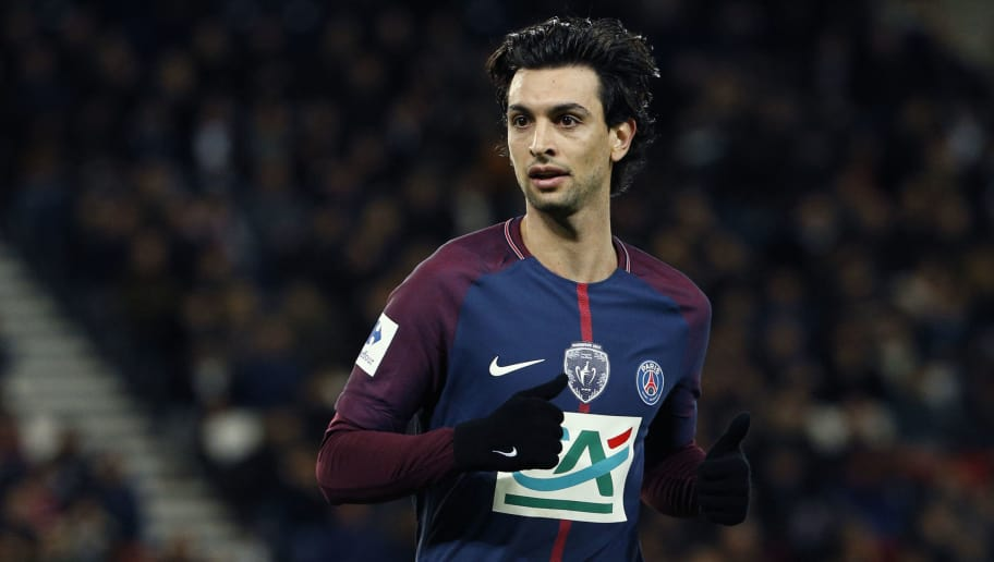 Paris Saint-Germain's Argentinian midfielder Javier Pastore runs  during the French Cup round of 16 football match between Paris Saint-Germain (PSG) and Guingamp (EAG) at the Parc des Princes stadium in Paris on January 24, 2018. / AFP PHOTO / GEOFFROY VAN DER HASSELT        (Photo credit should read GEOFFROY VAN DER HASSELT/AFP/Getty Images)
