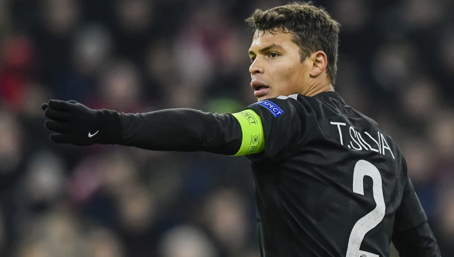 Paris Saint-Germain's Brazilian defender Thiago Silva reacts during the UEFA Champions League football match between Paris Saint-Germain and Bayern Munich, on December 5, 2017 in Munich, southern Germany.  / AFP PHOTO / GUENTER SCHIFFMANN        (Photo credit should read GUENTER SCHIFFMANN/AFP/Getty Images)