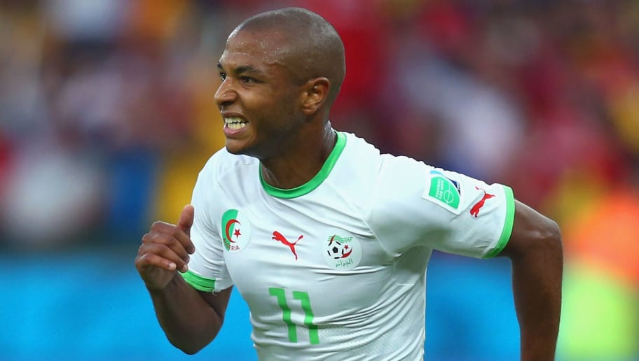 PORTO ALEGRE, BRAZIL - JUNE 22: Yacine Brahimi of Algeria celebrates scoring his team's fourth goal during the 2014 FIFA World Cup Brazil Group H match between South Korea and Algeria at Estadio Beira-Rio on June 22, 2014 in Porto Alegre, Brazil.  (Photo by Jeff Gross/Getty Images)