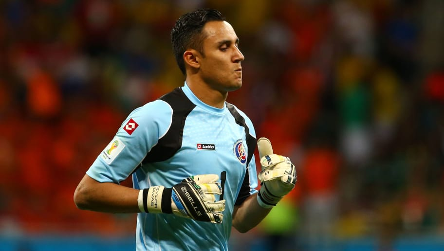 SALVADOR, BRAZIL - JULY 05: Keylor Navas of Costa Rica looks on during the 2014 FIFA World Cup Brazil Quarter Final match between the Netherlands and Costa Rica at Arena Fonte Nova on July 5, 2014 in Salvador, Brazil.  (Photo by Robert Cianflone/Getty Images)
