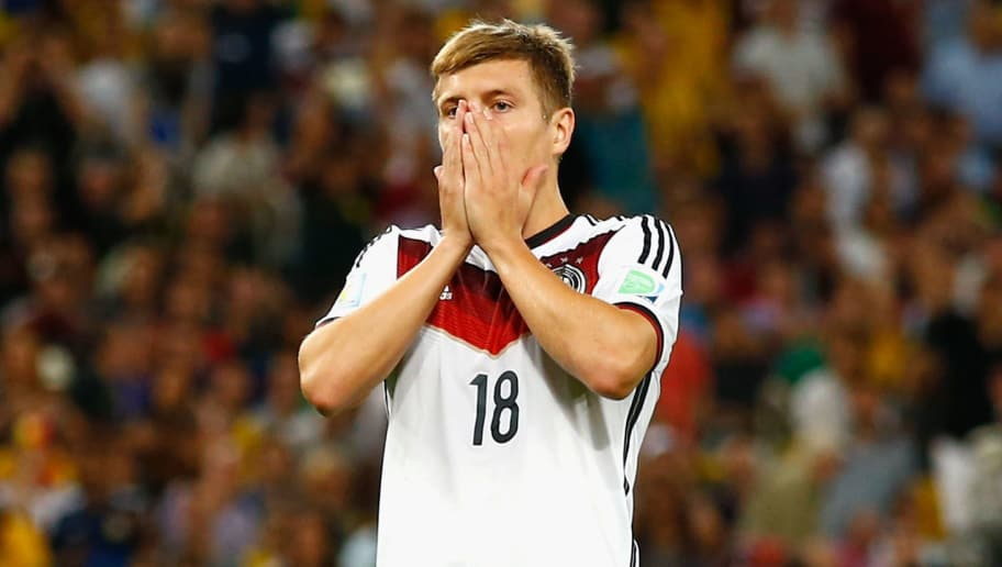 RIO DE JANEIRO, BRAZIL - JULY 13:  Toni Kroos of Germany reacts during the 2014 FIFA World Cup Brazil Final match between Germany and Argentina at Maracana on July 13, 2014 in Rio de Janeiro, Brazil.  (Photo by Clive Rose/Getty Images)