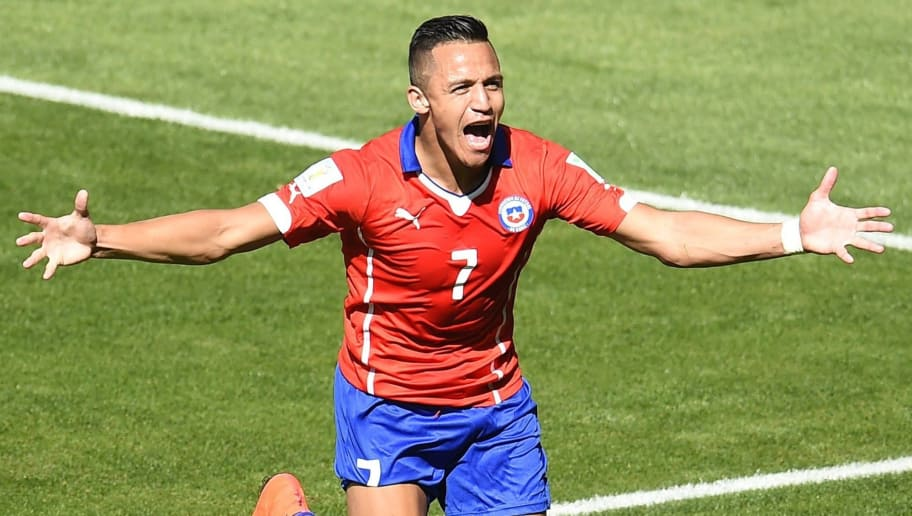 Chile's forward Alexis Sanchez celebrates after scoring a goal during the Round of 16 football match between Brazil and Chile at The Mineirao Stadium in Belo Horizonte during the 2014 FIFA World Cup on June 28, 2014.  AFP PHOTO / ODD ANDERSEN        (Photo credit should read ODD ANDERSEN/AFP/Getty Images)