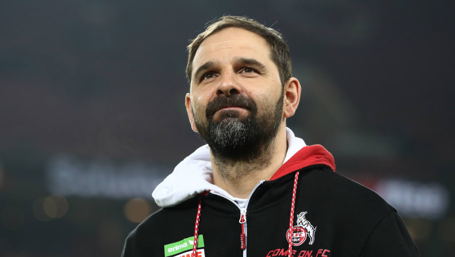 COLOGNE, GERMANY - FEBRUARY 02:  Stefan Ruthenbeck, head caoch of Cologne looks on prior to the Bundesliga match between 1. FC Koeln and Borussia Dortmund at RheinEnergieStadion on February 2, 2018 in Cologne, Germany.  (Photo by Alex Grimm/Bongarts/Getty Images)