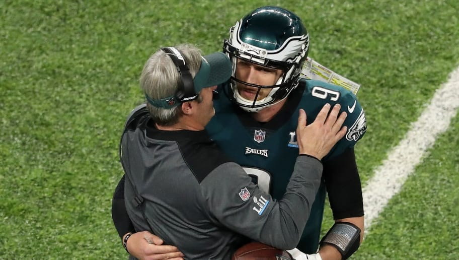 MINNEAPOLIS, MN - FEBRUARY 04:  Nick Foles #9 of the Philadelphia Eagles is congratulated by head coach Doug Pederson after his 1-yard touchdown reception during the second quarter against the New England Patriots in Super Bowl LII at U.S. Bank Stadium on February 4, 2018 in Minneapolis, Minnesota.  (Photo by Christian Petersen/Getty Images)