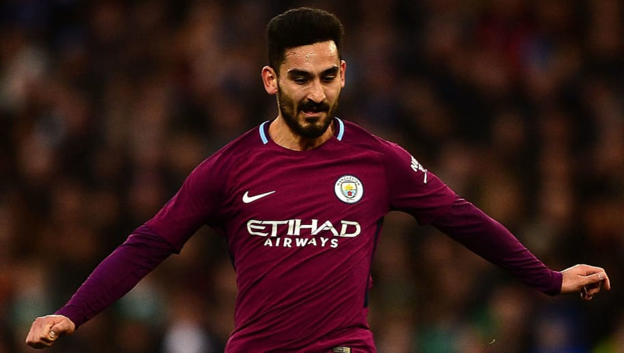 CARDIFF, WALES - JANUARY 28:  Ilkay Gundogan of Manchester City during The Emirates FA Cup Fourth Round match between Cardiff City and Manchester City at the Cardiff City Stadium on January 28, 2018 in Cardiff, United Kingdom.  (Photo by Harry Trump/Getty Images)