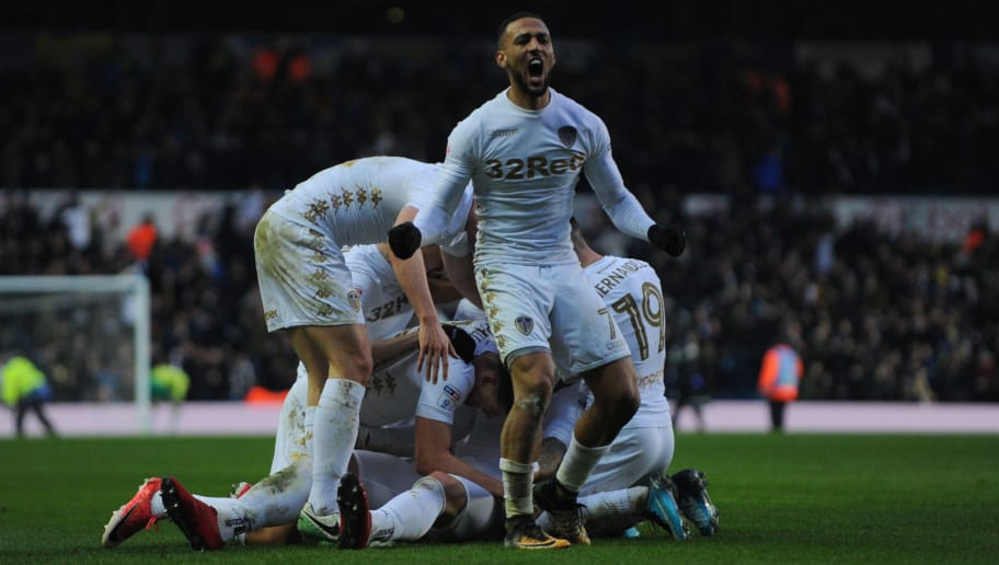 LEEDS, ENGLAND - JANUARY 20: Kemar Roofe celebrates after Pierre-Michel Lasogga of Leeds United scores during the Sky Bet Championship match between Leeds United and Millwall at Elland Road on January 20, 2018 in Leeds, England. (Photo by Nathan Stirk/Getty Images)