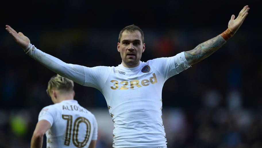 LEEDS, ENGLAND - JANUARY 20: Pierre-Michel Lasogga of Leeds United celebrates after scoring  during the Sky Bet Championship match between Leeds United and Millwall at Elland Road on January 20, 2018 in Leeds, England. (Photo by Nathan Stirk/Getty Images)
