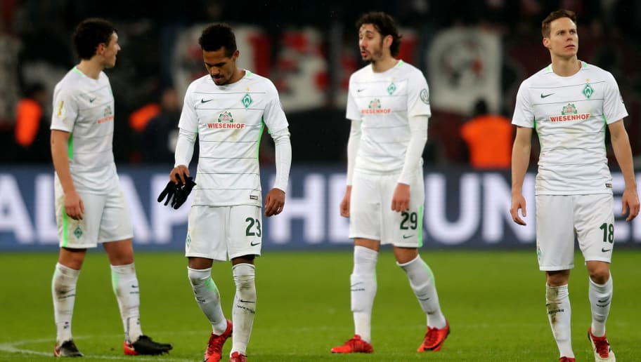 LEVERKUSEN, GERMANY - FEBRUARY 06: The team of Bremen looks dejected after the DFB Cup quarter final match between Bayer Leverkusen and Werder Bermen at BayArena on February 6, 2018 in Leverkusen, Germany. The match between Leverkusen and Bremen ended 4-2 after extra time. (Photo by Christof Koepsel/Bongarts/Getty Images)