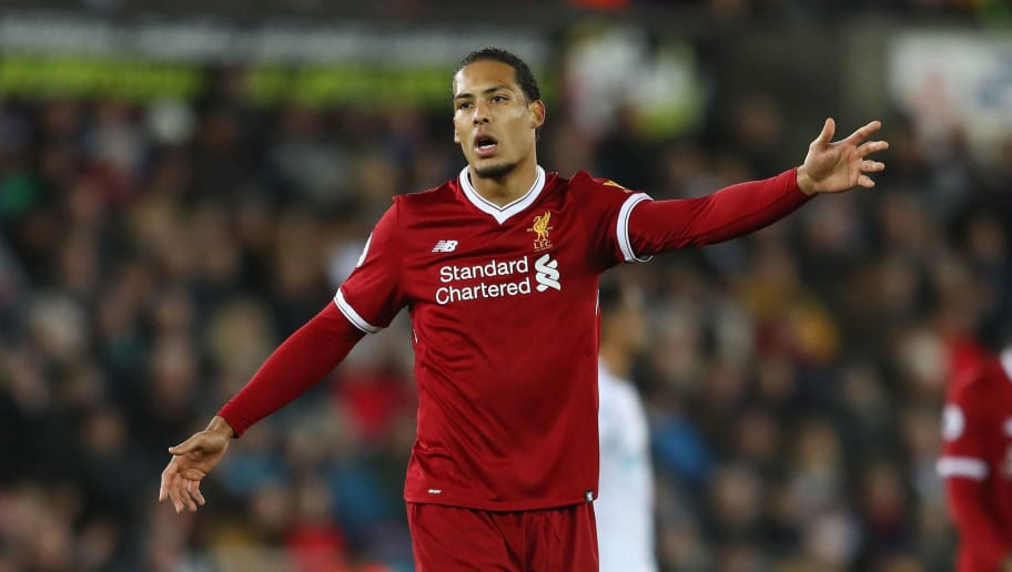 SWANSEA, WALES - JANUARY 22:  Virgil van Dijk of Liverpool during the Premier League match between Swansea City and Liverpool at the Liberty Stadium on January 22, 2018 in Swansea, Wales.  (Photo by Michael Steele/Getty Images)