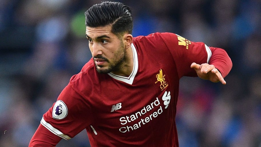 Liverpool's German midfielder Emre Can runs with the ball during the English Premier League football match between Brighton and Hove Albion and Liverpool at the American Express Community Stadium in Brighton, southern England on December 2, 2017. / AFP PHOTO / Glyn KIRK / RESTRICTED TO EDITORIAL USE. No use with unauthorized audio, video, data, fixture lists, club/league logos or 'live' services. Online in-match use limited to 75 images, no video emulation. No use in betting, games or single club/league/player publications.  /         (Photo credit should read GLYN KIRK/AFP/Getty Images)