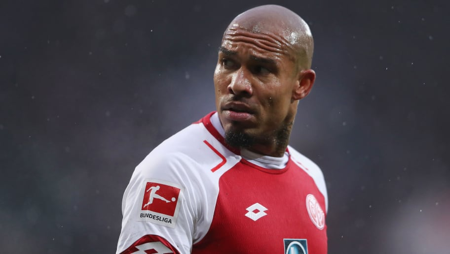 MAINZ, GERMANY - JANUARY 20: Nigel de Jong of Mainz reacts during the Bundesliga match between 1. FSV Mainz 05 and VfB Stuttgart at Opel Arena on January 20, 2018 in Mainz, Germany.  (Photo by Alex Grimm/Bongarts/Getty Images)