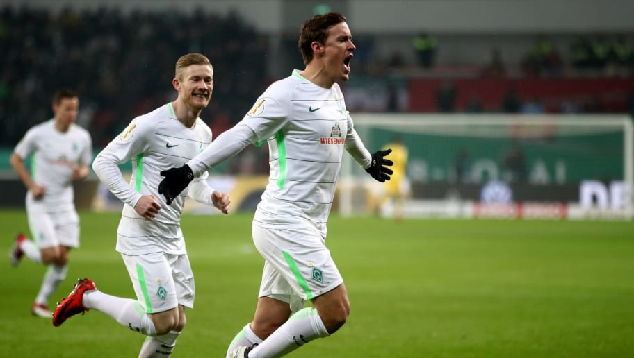 LEVERKUSEN, GERMANY - FEBRUARY 06:  Max Kruse of Bremen celebrates after he scores the opening goal by penalty kick during the DFB Cup quarter final match between Bayer Leverkusen and Werder Bremen at BayArena on February 6, 2018 in Leverkusen, Germany.  (Photo by Alex Grimm/Bongarts/Getty Images)