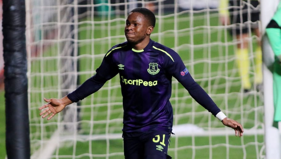 Everton's Ademola Lookman celebrates after scoring during the UEFA Europa League group stage football match between Apollon Limassol and Everton at the GSP stadium in the Cypriot capital Nicosia on December 7, 2017. / AFP PHOTO / Chara Savvides        (Photo credit should read CHARA SAVVIDES/AFP/Getty Images)