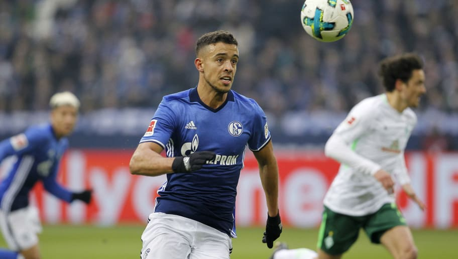 GELSENKIRCHEN, GERMANY - FEBRUARY 03:  Franco di Santo of Schalke runs with the ball during the Bundesliga match between FC Schalke 04 and SV Werder Bremen at Veltins-Arena on February 3, 2018 in Gelsenkirchen, Germany. (Photo by Mika Volkmann/Bongarts/Getty Images)
