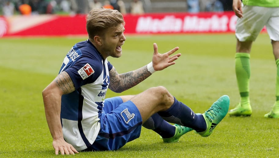 BERLIN, GERMANY - APRIL 22:  Alexander Esswein of Hertha BSC reacts during the Bundesliga match between Hertha BSC and VfL Wolfsburg at Olympiastadion on April 22, 2017 in Berlin, Germany.  (Photo by Boris Streubel/Bongarts/Getty Images)