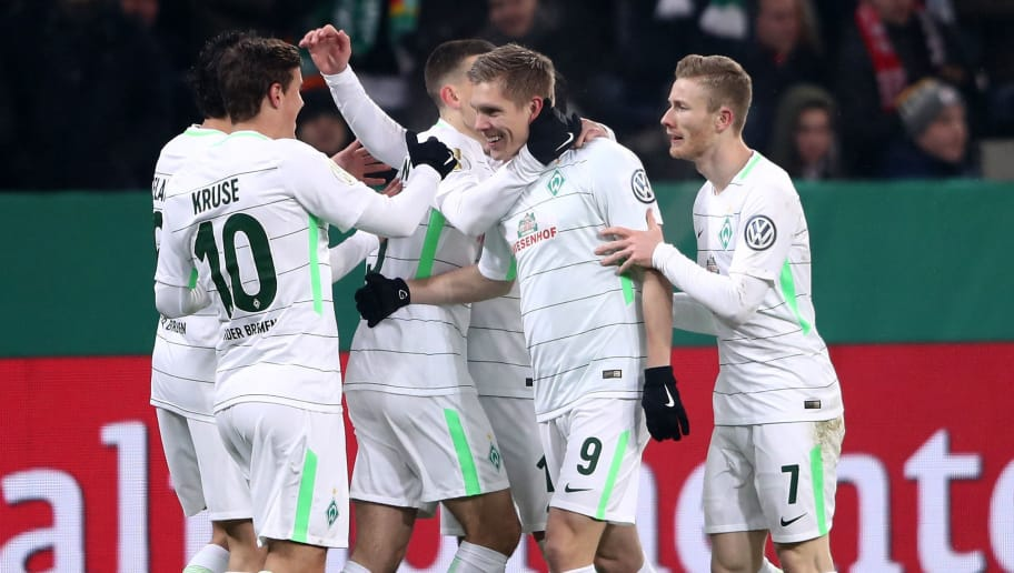 LEVERKUSEN, GERMANY - FEBRUARY 06:  Aron Johannsson #9 of Bremen celebrates after he scores the 2nd goal during the DFB Cup quarter final match between Bayer Leverkusen and Werder Bremen at BayArena on February 6, 2018 in Leverkusen, Germany.  (Photo by Alex Grimm/Bongarts/Getty Images)