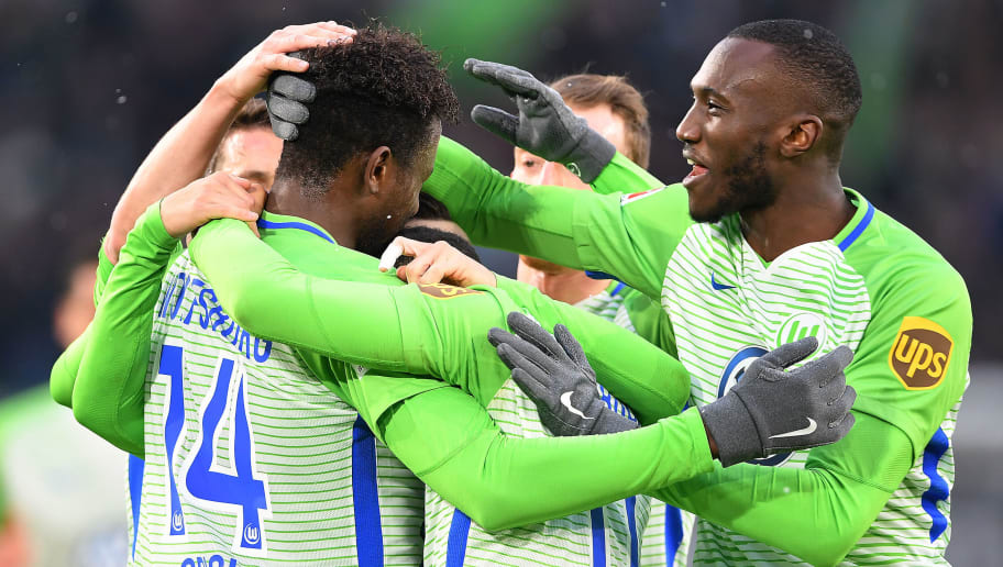 WOLFSBURG, GERMANY - FEBRUARY 03: Divock Origi of Wolfsburg (left) celebrates with his team after he score a goal to make it 1:0 during the Bundesliga match between VfL Wolfsburg and VfB Stuttgart at Volkswagen Arena on February 3, 2018 in Wolfsburg, Germany. (Photo by Stuart Franklin/Bongarts/Getty Images)