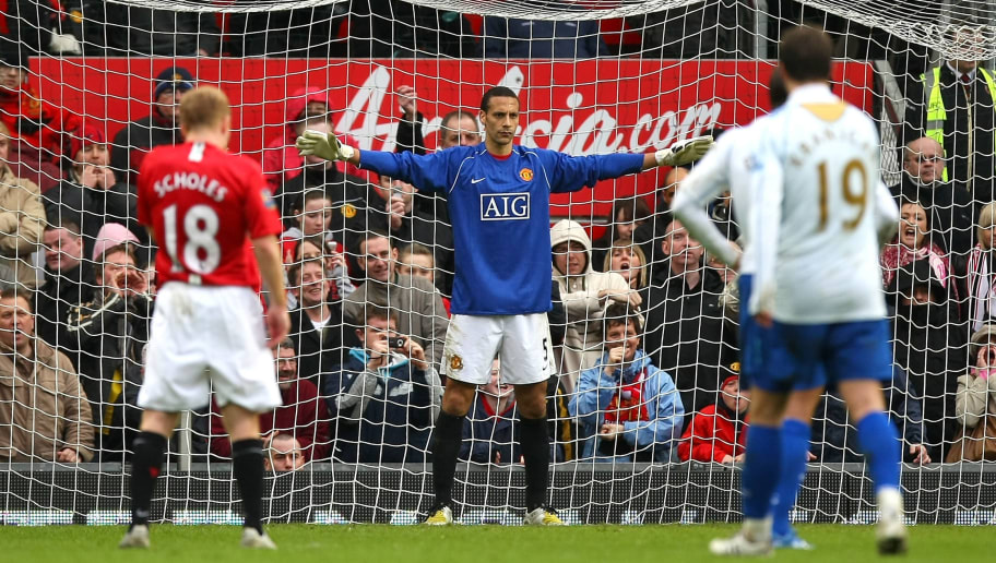 MANCHESTER, UNITED KINGDOM - MARCH 08:  Stand-in goalkeeper Rio Ferdinand of Manchester United prepares himself before a penalty during the FA Cup Sponsored by e.on Quarter Final match between Manchester United and Portsmouth held at Old Trafford on March 8, 2008 in Manchester, England.  (Photo by Richard Heathcote/Getty Images)