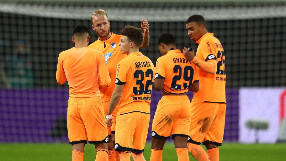 BERLIN, GERMANY - FEBRUARY 03: Players of Hoffenheim stand together dejected after the Bundesliga match between Hertha BSC and TSG 1899 Hoffenheim at Olympiastadion on February 3, 2018 in Berlin, Germany. (Photo by Martin Rose/Bongarts/Getty Images)