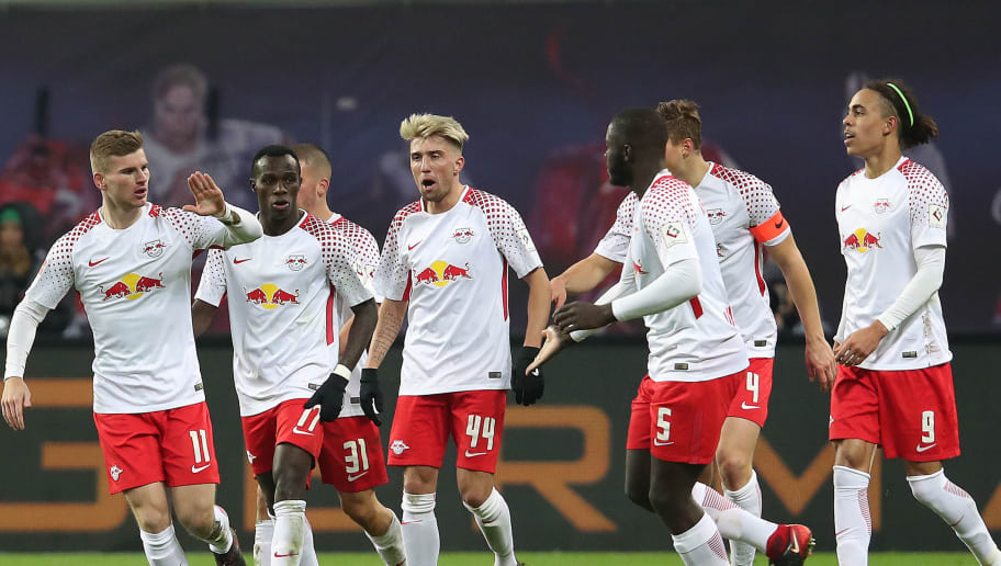 LEIPZIG, GERMANY - JANUARY 13: Timo Werner of Leipzig (left) celebrates with his team after he scored a goal to make it 2:1 during the Bundesliga match between RB Leipzig and FC Schalke 04 at Red Bull Arena on January 13, 2018 in Leipzig, Germany. (Photo by Ronny Hartmann/Bongarts/Getty Images)
