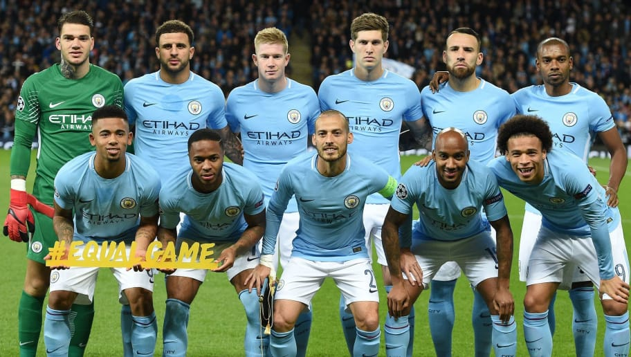 (LtoR) Manchester City's Brazilian goalkeeper Ederson, Manchester City's Brazilian striker Gabriel Jesus, Manchester City's English defender Kyle Walker, Manchester City's English midfielder Raheem Sterling, Manchester City's Belgian midfielder Kevin De Bruyne, Manchester City's Spanish midfielder David Silva, Manchester City's English defender John Stones, Manchester City's English midfielder Fabian Delph, Manchester City's Argentinian defender Nicolas Otamendi, Manchester City's German midfielder Leroy Sane and Manchester City's Brazilian midfielder Fernandinho pose for a team photo ahead of the UEFA Champions League Group F football match between Manchester City and Napoli at the Etihad Stadium in Manchester, north west England, on October 17, 2017. Manchester City won the match 2-1. / AFP PHOTO / Oli SCARFF        (Photo credit should read OLI SCARFF/AFP/Getty Images)