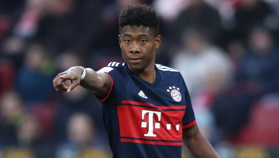 MAINZ, GERMANY - FEBRUARY 03: David Alaba of Bayern Muenchen points and gestures during the Bundesliga match between 1. FSV Mainz 05 and FC Bayern Muenchen at Opel Arena on February 3, 2018 in Mainz, Germany. (Photo by Alex Grimm/Bongarts/Getty Images)