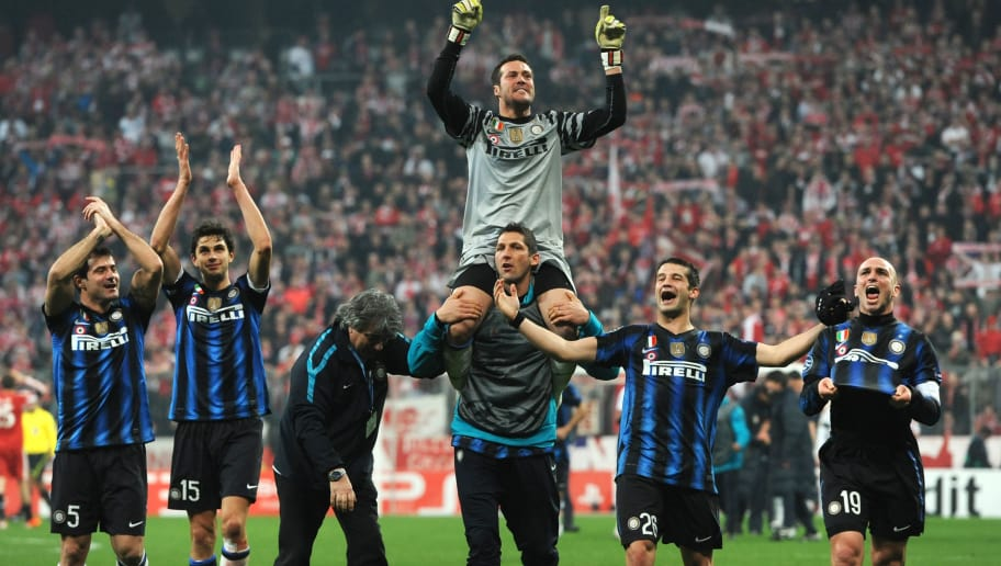(L-R) Inter Milan's Serbian midfielder Dejan Stankovic, Andrea Rancchia, Inter Milan's Brazilian goalkeeper Julio Cesar (on top), Inter Milan's defender Marco Materazzi, Inter Milan's Rumenian defender Cristian Chivu and Inter Milan's Argentine midfielder Esteban Matias Cambiasso celebrate after winning the Champions League round of 16 second leg football match between Bayern Munich and Inter Milan at the Allianz-Arena stadium in Munich, southern Germany, on March 15, 2011. Inter Milan won 2-3.     AFP PHOTO / CHRISTOF STACHE (Photo credit should read CHRISTOF STACHE/AFP/Getty Images)