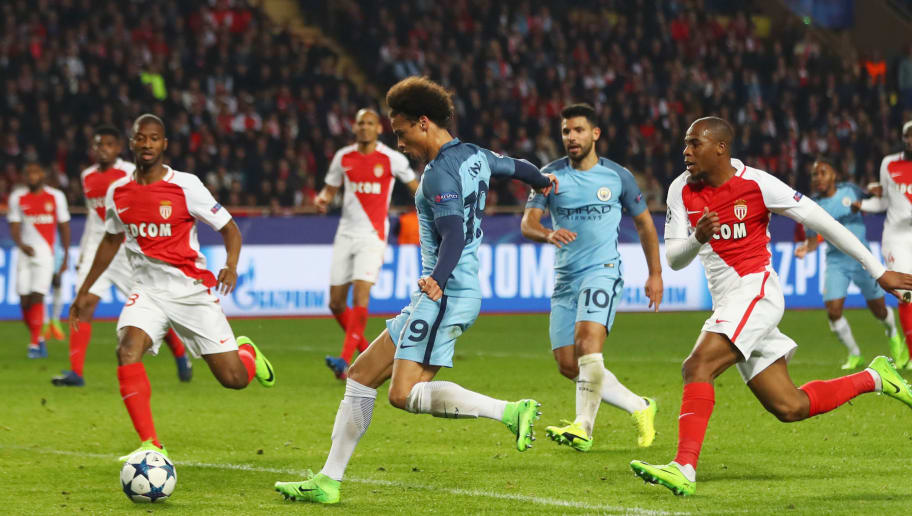 MONACO - MARCH 15:  Leroy Sane of Manchester City (19) scores their first goal during the UEFA Champions League Round of 16 second leg match between AS Monaco and Manchester City FC at Stade Louis II on March 15, 2017 in Monaco, Monaco.  (Photo by Michael Steele/Getty Images)