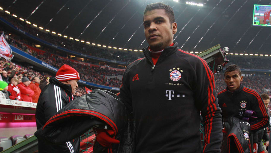MUNICH, GERMANY - JANUARY 28:  Breno of Muenchen arrives for the Bundesliga match between FC Bayern Muenchen and VfL Wolfsburg at Allianz Arena on January 28, 2012 in Munich, Germany.  (Photo by Alexander Hassenstein/Bongarts/Getty Images)