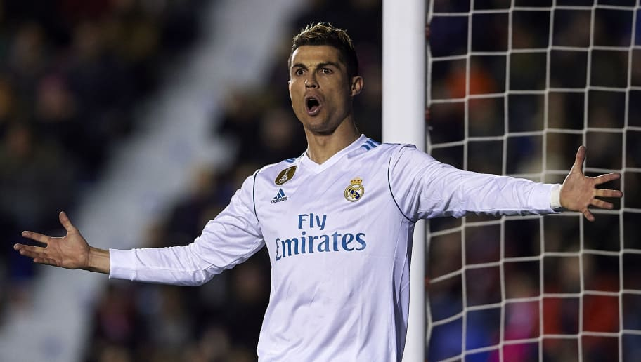 VALENCIA, SPAIN - FEBRUARY 03:  Cristiano Ronaldo of Real Madrid reacts during the La Liga match between Levante and Real Madrid at Ciutat de Valencia on February 3, 2018 in Valencia, Spain.  (Photo by Manuel Queimadelos Alonso/Getty Images)