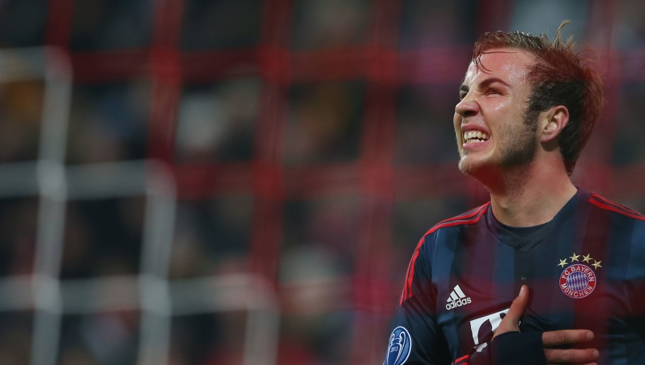 MUNICH, GERMANY - DECEMBER 10:  Mario Goetze of Muenchen reacts during the UEFA Champions League Group D match between FC Bayern Muenchen and Manchester City at the Allianz Arena December 10, 2013 in Munich, Germany.  (Photo by Alexander Hassenstein/Bongarts/Getty Images)