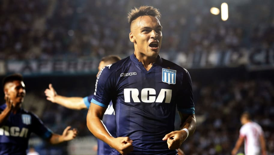 AVELLANEDA, ARGENTINA - FEBRUARY 04: Lautaro Martinez of Racing Club celebrates after scoring the first goal of his team during a match between Racing Club and Huracan as part of Superliga Argentina 2017/18 at Presidente Peron Stadium on February 4, 2018 in Avellaneda, Argentina. (Photo by Demian Alday/Getty Images)