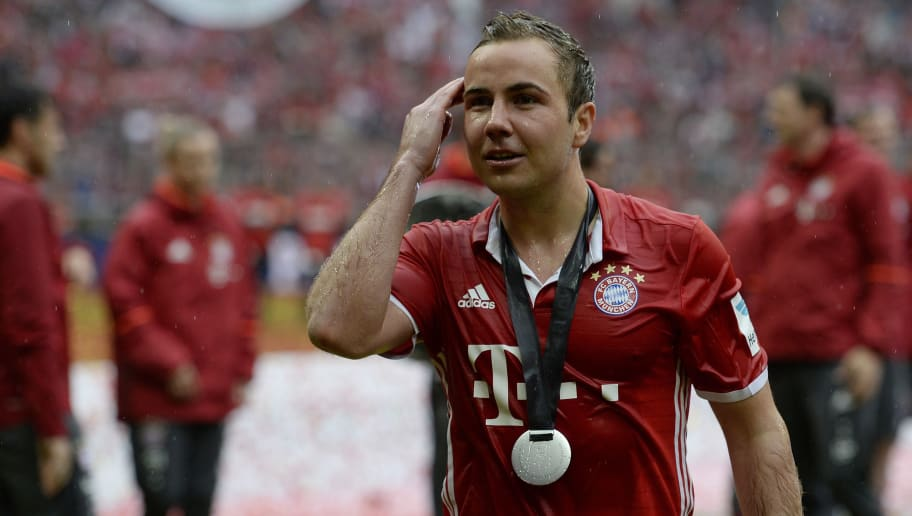MUNICH, GERMANY - MAY 14: Mario Goetze of Muenchen celebrates after the Bundesliga match between FC Bayern Muenchen and Hannover 96 at Allianz Arena on May 14, 2016 in Munich, Germany. (Photo by Daniel Kopatsch/Getty Images For MAN)