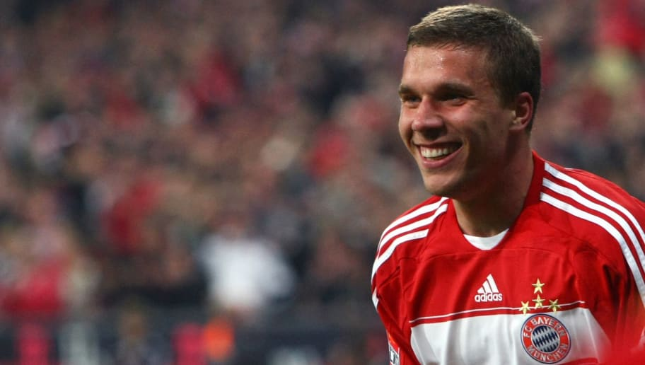 MUNICH, GERMANY - MAY 12:  Lukas Podolski of Muenchen smiles during the Bundesliga match between FC Bayern Muenchen and Bayer 04 Leverkusen at Allianz Arena on May 12, 2009 in Munich, Germany.  (Photo by Alexander Hassenstein/Bongarts/Getty Images)