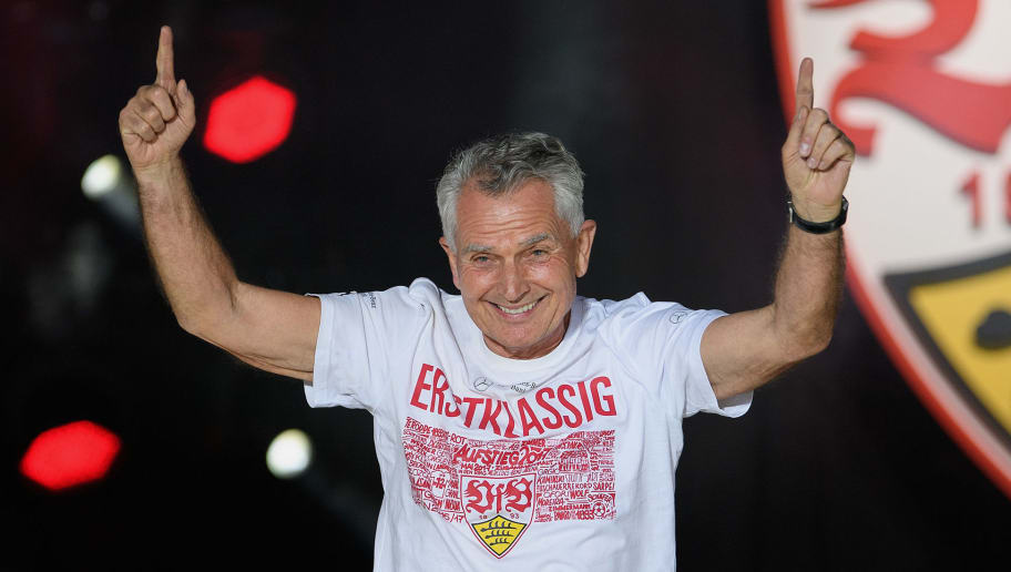 STUTTGART, GERMANY - MAY 21: Wolfgang Dietrich, President of VfB Stuttgart, celebrates at the stage of the Fan-Party after winning the 2. Second Bundesliga Championship title after the 2. Second Bundesliga match between VfB Stuttgart and FC Wuerzburger Kickers at Mercedes-Benz Arena on May 21, 2017 in Stuttgart, Germany.  (Photo by Matthias Hangst/Bongarts/Getty Images)