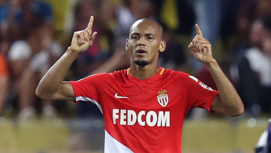 Monaco's Brazilian defender Fabinho celebrates after scoring a goal  during the French L1 football match between Monaco (ASM) and Marseille (OM) on August 27, 2017, at the Louis II Stadium in Monaco. / AFP PHOTO / VALERY HACHE        (Photo credit should read VALERY HACHE/AFP/Getty Images)