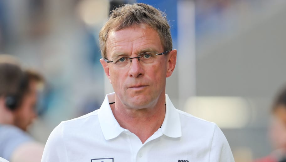 SINSHEIM, GERMANY - AUGUST 28:  Manager Ralf Rangnick of Leipzig looks on prior to the Bundesliga match between TSG 1899 Hoffenheim and RB Leipzig at Wirsol Rhein-Neckar-Arena on August 28, 2016 in Sinsheim, Germany.  (Photo by Simon Hofmann/Bongarts/Getty Images)