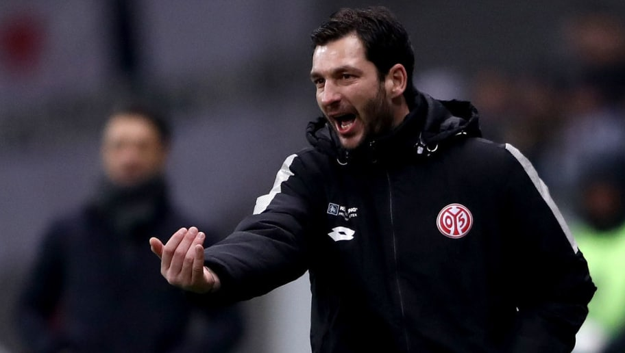 FRANKFURT AM MAIN, GERMANY - FEBRUARY 07: Sandro Schwarz, head coach of Mainz gestures during the DFB Cup quarter final match between Eintracht Frankfurt and 1. FSV Mainz 05 at Commerzbank-Arena on February 7, 2018 in Frankfurt am Main, Germany.  (Photo by Alex Grimm/Bongarts/Getty Images)