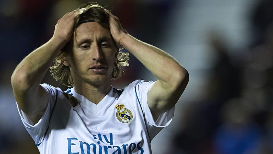 VALENCIA, SPAIN - FEBRUARY 03:  Luka Modric of Real Madrid reacts during the La Liga match between Levante and Real Madrid at Ciutat de Valencia on February 3, 2018 in Valencia, Spain.  (Photo by Manuel Queimadelos Alonso/Getty Images)