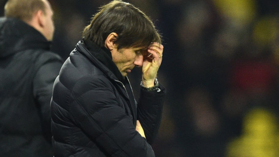 Chelsea's Italian head coach Antonio Conte looks on during the English Premier League football match between Watford and Chelsea at Vicarage Road Stadium in Watford, north of London on February 5, 2018. / AFP PHOTO / Glyn KIRK / RESTRICTED TO EDITORIAL USE. No use with unauthorized audio, video, data, fixture lists, club/league logos or 'live' services. Online in-match use limited to 75 images, no video emulation. No use in betting, games or single club/league/player publications.  /         (Photo credit should read GLYN KIRK/AFP/Getty Images)